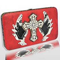 FASHION CROSS & WING WALLET WITH RHINESTONE-RED