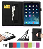 Apple iPad Air (iPad 5) Case Cover, FYY® Premium Leather Case Stand Cover with Card Slots, Pocket, Elastic Hand Strap and Stylus Holder for Apple iPad 5 (Apple iPad Air 2013 Generation) Black (With Auto Wake/Sleep Feature)