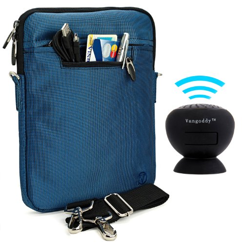 Vangoddy Hydei Sleeve - Royal Navy Blue Modern Padded Bag Pack Cover W/ Shoulder Strap For Asus Padfone X Android Tablet + Black Mini Suction Bluetooth Speaker W/ Microphone