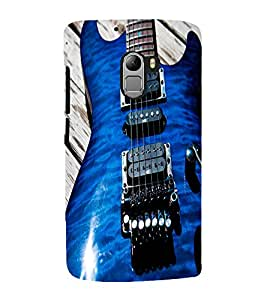 Fuson Premium Back Case Cover BLUE STYLISH GUITAR With Others Background Degined For Lenovo K4 Note