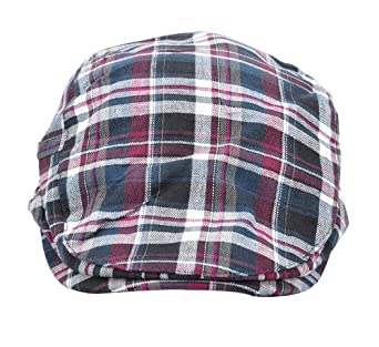 Simplicity Front Peak Plaid Driver Caps, Black