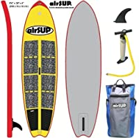 "airSUP 9'6""x30""x4"" Inflatable SUP 15psi Stand Up Paddleboard, Roll It up and Store in the Bag! Yellow from airSUP"