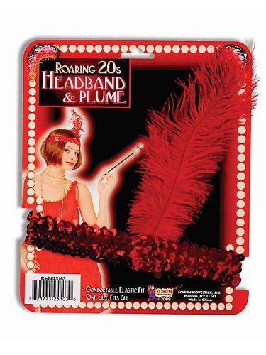 Red Sequin Flapper Costume Headband