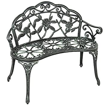 Best Choice Products BCP Outdoor Patio Garden Bench Cast Iron Antique Rose Backyard Porch Furniture