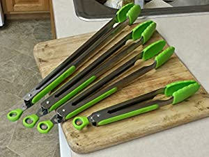 -JFSG High Quality Green Silicone Coated Stainless Steel Kitchen Tongs Set of 4 (9in-12in-14in-16in) FOREVER Guarantee!