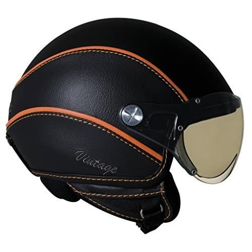 Nexx Vintage X60 Harley Touring Motorcycle Helmet - Black/Orange / X-Large