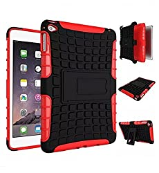 ProElite Heavy Duty Armor Dual Layer Shockproof Back Cover case for Apple ipad mini 4 (Red)
