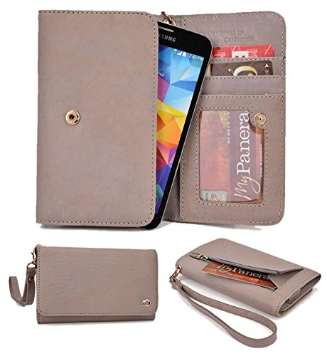 Real Leather Clutch Grey Nuvur ™ Compatible W/Sony Xperia Z3 Dual (D6653) Wristlet, Card Slots, Zipper