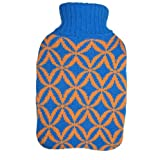 Warm Tradition Blue & Beige Diamonds Knit Hot Water Bottle Cover- COVER ONLY