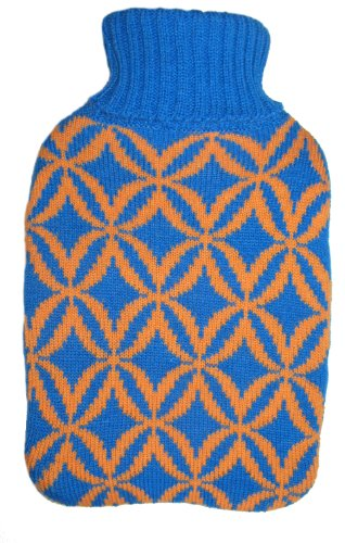 Warm Tradition Blue & Beige Diamonds Knit Covered Hot Water Bottle - Bottle Made In Germany