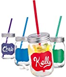 Palais Mason Jar Tumbler Mug with Stainless Steel Lid and Decorative Straws - 15 Ounces - Set of 4 (Colored Chalk It Up W/Chalk & Matching Straws)