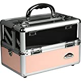 Sunrise Makeup Train Case C6009 Clear Acryic Top, Travel Cosmetic Box With 2 Trays, Mirror And Shoulder Strap,...