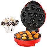 VonShef Cake Pop Maker 12 Hole Red + 50 Paper Sticks, 50 Ribbons and 50 Plastic bags + Twist Ties, 12 Hole Stand and Icing Injector