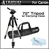 Professional 72-inch TRIPOD w/ Case For Canon VIXIA HF G20, VIXIA HF R42, VIXIA HF R40, VIXIA HF R400, VIXIA HF M52, VIXIA HF M50, VIXIA HF M500, VIXIA HF R32, VIXIA HF R30, VIXIA HF R300 HD Camcorder
