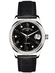 André Belfort 410157 - Reloj analógico de mujer automático con correa de piel negra - sumergible a 50 metros