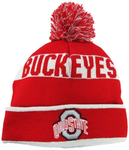 Ohio State Buckeyes Red Grey Cuffed Pom Knit Beanie Hat   Cap - Import It  All fbe808a1072
