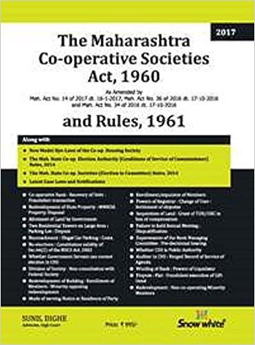 The Maharashtra Co-Operative Societies Act, 1960 & Rules, 1961