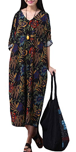 Voguees Women's Summer Floral Printed Robe Dress Style 1 Blue