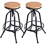 Costway Set of 2 Vintage Bar Stools Industrial Metal Design Wood Top Adjustable Swivel