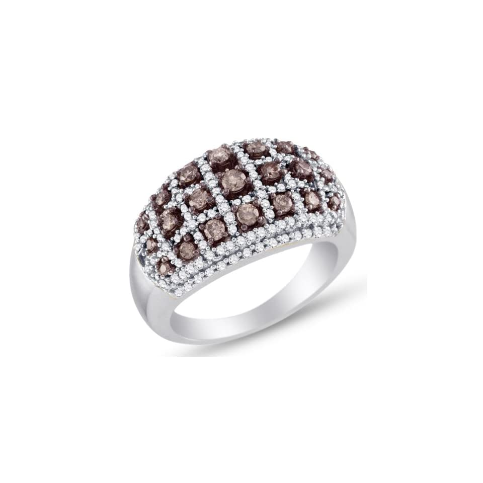 Size 4   10K White Gold Prong Set Round Cut Chocolate Brown and White Diamond Ladies Womens Fashion, Wedding Ring OR Anniversary Band (1.00 cttw.)