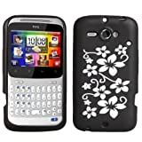HTC ChaCha Floral Silicone Case Cover Black And Whiteby Yousave Accessories