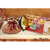 Diwali Sweets Gift Pack - Joy Chocolates Belgian Assorted Chocolates 15pc In Potli With Metal Diya And Greeting...