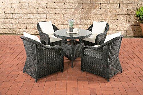 CLP-Poly-Rattan-Luxus-Garten-Sitzgruppe-FARSUND-schwarz-5-mm-Rund-Rattan-4-Sthle-Tisch-rund--90-cm-INKL-bequemen-10-cm-Sitzkissen-schwarz-Bezug-Cremewei