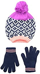 Carters Big Girls' Geometric Square Color Block Beanie Glove Set, Ivory/Navy, 4-8