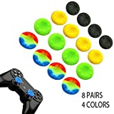 Arichezo 8 Pairs Thumb Grip Stick Cover For Ps4 Ps3 Ps2 Xbox 360 One Wii Case Skin Joystick Controller Pack Of 16 Pcs (4 Black + 4 Yellow + 4 Green + 4 Colorful) Set # 5