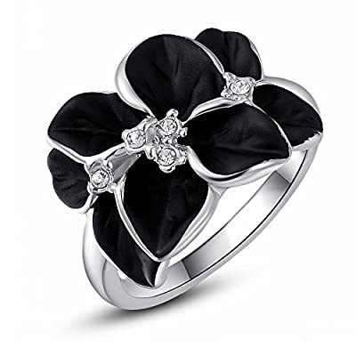 ROXI 18K Platitum / Rose Gold Plated Black Rose Party Ring for Women Best Gifts Idea (Available in Sizes 6 7 8)