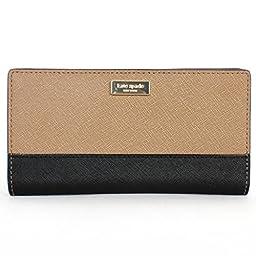 Kate Spade Newbury Lane Stacy Clutch Wallet Saffiano WLRU1601 with Gift Box (Dune/Black (267))