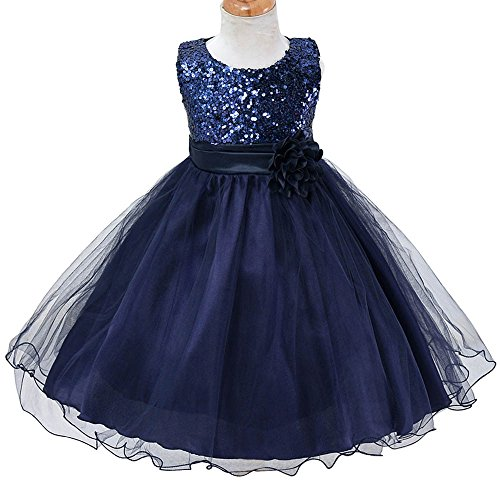TFJH Lovely Baby Flower Girl Newborn Wedding Pageant Party Dresses Navy XL