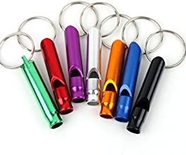 LQZTM 10Pcs Assorted Color Aluminum Loud Safety Survival Whistle Keyring Keychain