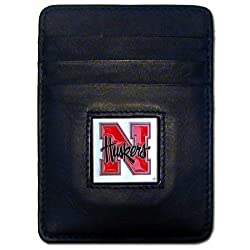 NCAA Nebraska Cornhuskers Leather Money Clip/Cardholder Wallet