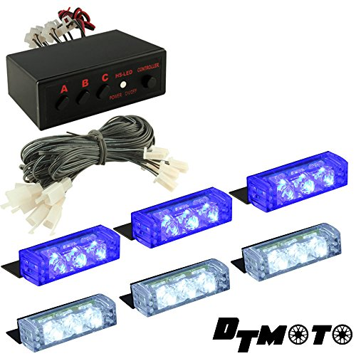 Blue White Clear 18X Led Volunteer Personal Vehicle Emergency Grille Warning Lights - 1 Set