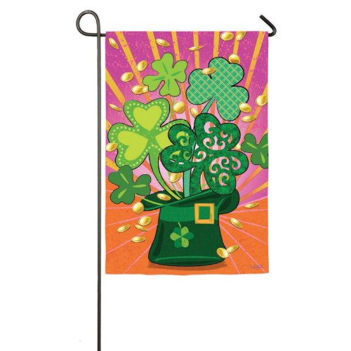 Shamrock Hat Garden Flag