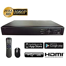 Digital Surveillance Recorder 4-Channel HD-TVI 1080p H.264 True-HD DVR with Pre-Installed 2TB Hard Drive Playback Internet & Mobile Phone Accessible HDMI TVI/Analog/IP Smart Recording Real Time for CCTV Camera Home Office Security System Network (Only wor