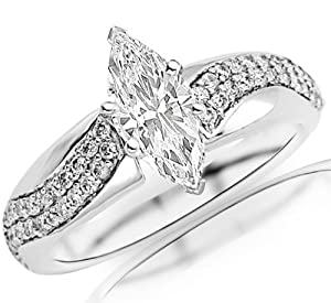0.81 Carat Marquise Cut / Shape 14K White Gold Two Rows Of Pave-set Round Diamond Engagement Ring ( D-E Color , SI2 Clarity )
