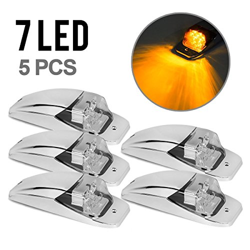 5xM27011Y Amber/Yellow 7LED Chrome Upper Cab Marker Lights Clear Lens for Truck Trailer Peterbilt Kenworth Freightliner (Teardrop Cab Lights compare prices)