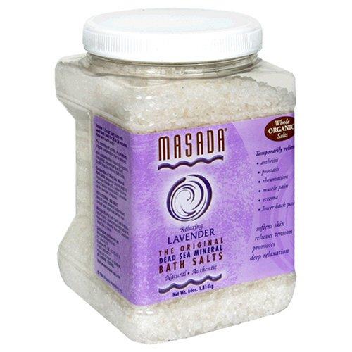 Masada Bath Salts, Relaxing Lavender, Dead Sea Mineral, 64 Ounces (1.814 kg)