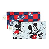 Bumkins Disney Baby Reusable Snack Bag Small 2 Pack, Mickey Mouse (Classic/Checkered)