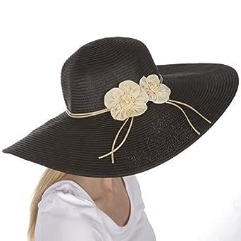 Sakkas 5241LF Bella UPF 50+ 100% Paper Straw Flower Accent Wide Brim Floppy Hat - Black - One Size