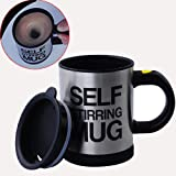 Gangnam Shop Creative Lazy Self-Stirring Mug Cup for Tea/Coffee/Hot Chocolate/Soups-Black