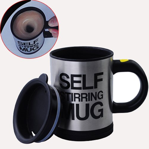 Gangnam Shop Creative Lazy Self-Stirring Mug Cup For Tea/Coffee/Hot Chocolate/Soups-Black
