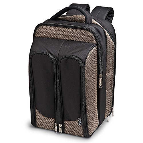 Epic Products Wine Picnic Backpack for Two Tweed, Multicolor