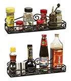 Unum™ Pair of Single Tier Wall-Mount Spice Racks; Organizer for Kitchen, Pantry, Countertop; Holds Vitamins, Lotions, Nail Polish; Handcrafted of Black Heavy Duty Iron, Set of 2