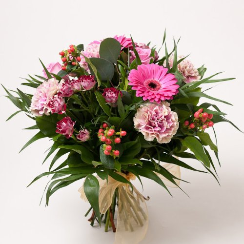 Fresh Flowers Delivered - Pink Gerbera and Carnation Hand-Tie Bouquet
