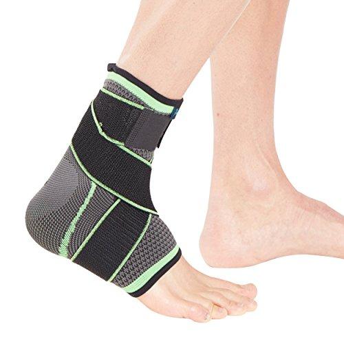 Cavigliera tubolare sportiva Actesso con cinghia avvolgente - Il massimo supporto per slogature, distorsioni e lesioni sportive - Di colore verde (Media)