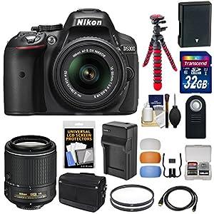 Nikon D5300 Digital SLR Camera & 18-55mm G VR II Lens (Black) with 55-200mm VR II Lens + 32GB Card + Battery + Charger + Bag + Tripod + Kit