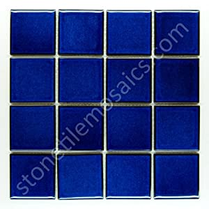 Square Tile Cobalt Blue Porcelain Mosaic Shiny Look 3x3 Inch - Ceramic